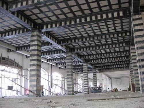 碳纤维布梁柱子加固现场